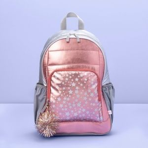 """16.5"""" Kids' Backpack Rose Gold with Star Print"""